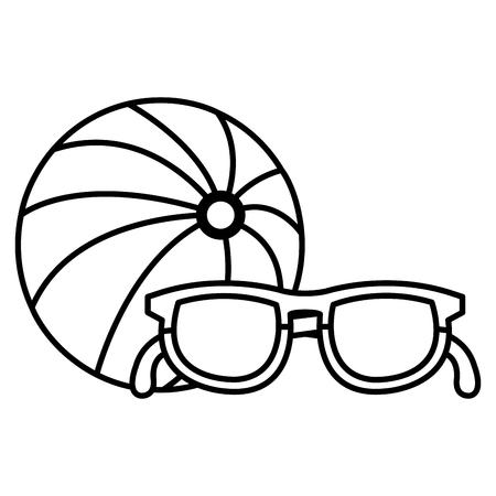 balloon beach with sunglasses vector illustration design