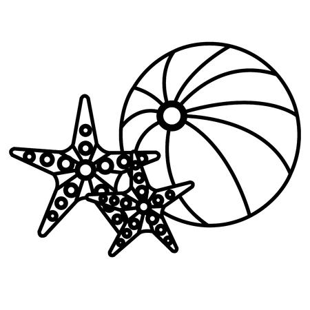 balloon beach with starfish vector illustration design