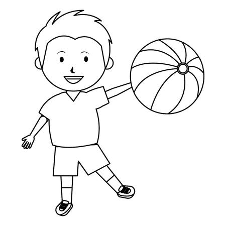 little boy with balloon beach toy vector illustration design