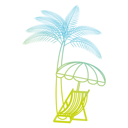 tree palms with beach chair and umbrella vector illustration design Archivio Fotografico - 114939484