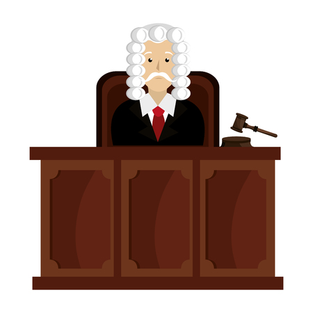 justice judge on stage character vector illustration design Illusztráció