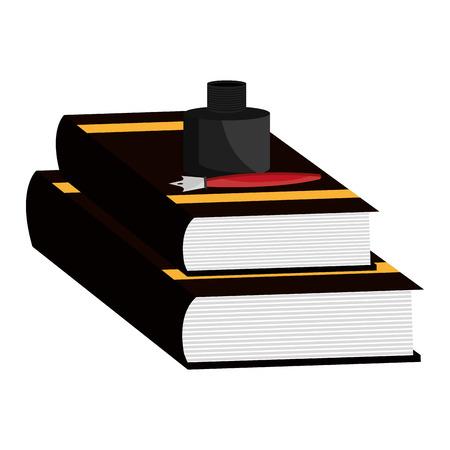 justice books and bottle ink vector illustration design
