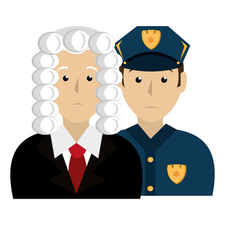 justice judge and police characters vector illustration design