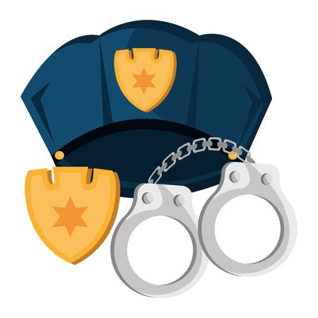 police cap and handcuffs vector illustration design Ilustração