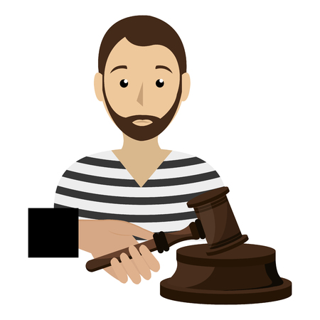 justice hammer with prisoner character vector illustration design Stock Illustratie