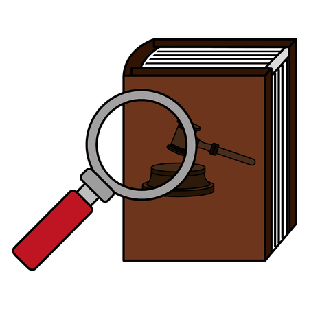 justice book with magnifying glass vector illustration design 向量圖像