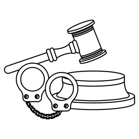 justice hammer with handcuffs vector illustration design Ilustração