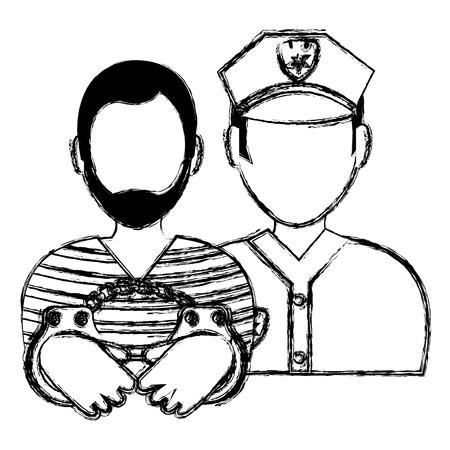 prisoner with police avatar character vector illustration design Illustration