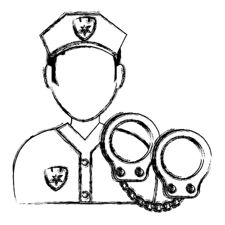 police officer with handcuffs character vector illustration design