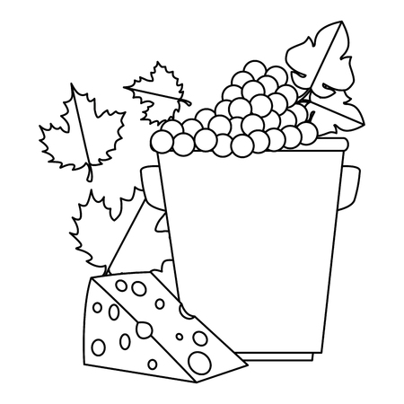 bucket with grapes cluster and cheese vector illustration design Illustration
