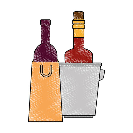 wine bottles in bag and bucket vector illustration design