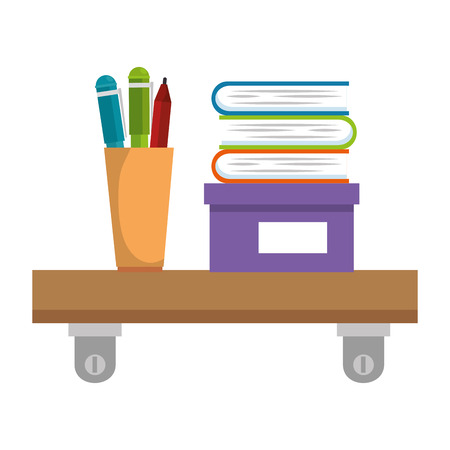 shelf with pencil holders and books vector illustration design Illustration