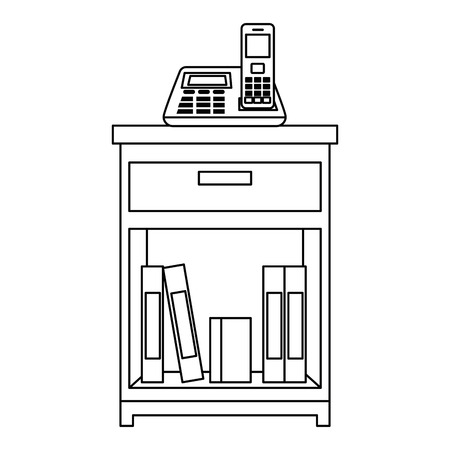 office drawer with books vector illustration design