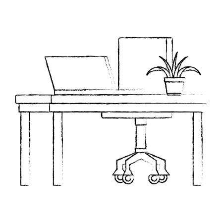 office workplace with desk and laptop scene vector illustration design