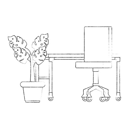 office workplace with desk and plant scene vector illustration design