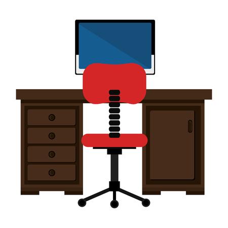 office workplace with desk and desktop scene vector illustration design