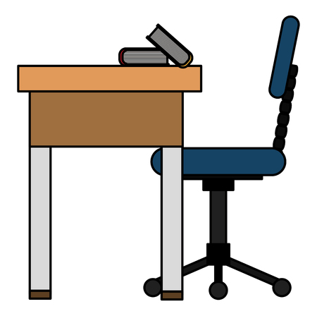 office workplace with desk and chair scene vector illustration design