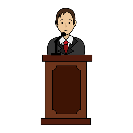 lawyer in stage avatar character vector illustration design