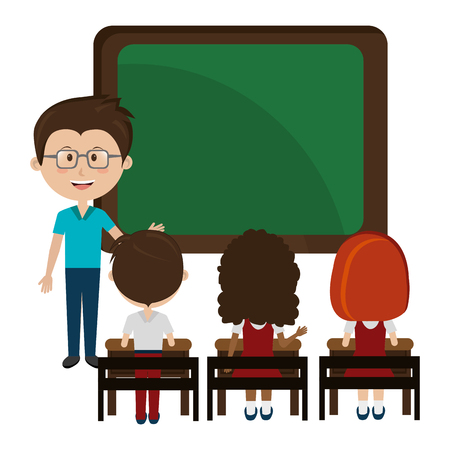 man teacher with chalkboard and students vector illustration design