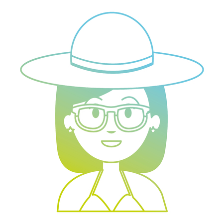 woman with hat and sunglasses vector illustration design Stock Vector - 104889984