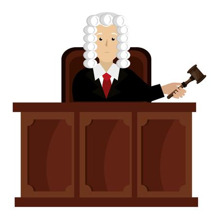 Juez de justicia en el escenario, diseño de ilustraciones vectoriales de caracteres Ilustración de vector