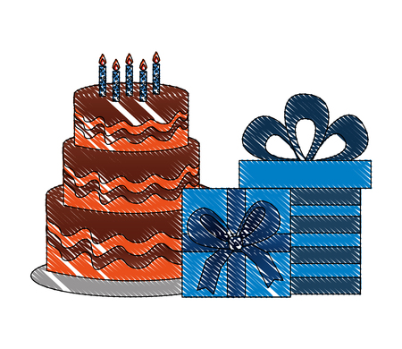 delicious birthday cake and gift boxes party vector illustration Illustration