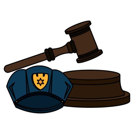 justice hammer with police hat vector illustration design Stock Illustration - 104971719