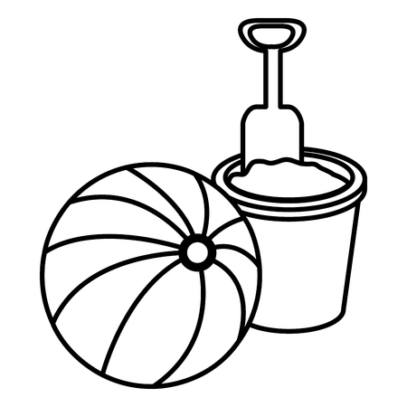 balloon beach with sand bucket vector illustration design