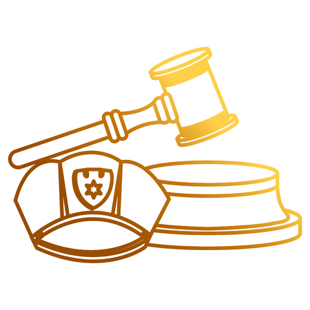 justice hammer with police hat vector illustration design Stock Illustratie