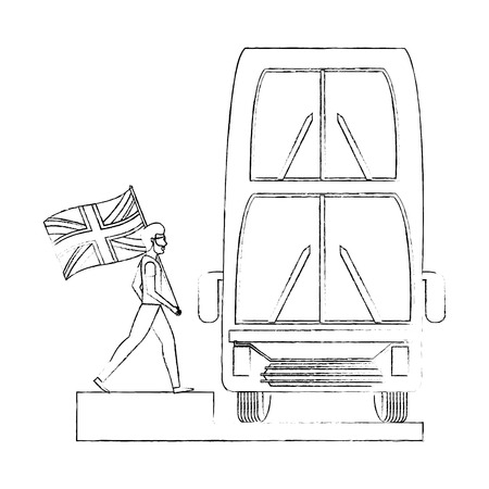 man with flag england london double decker bus vector illustration