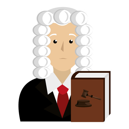 justice book with judge character vector illustration design