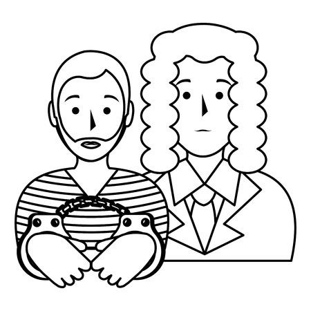 justice judge with prisoner character vector illustration design