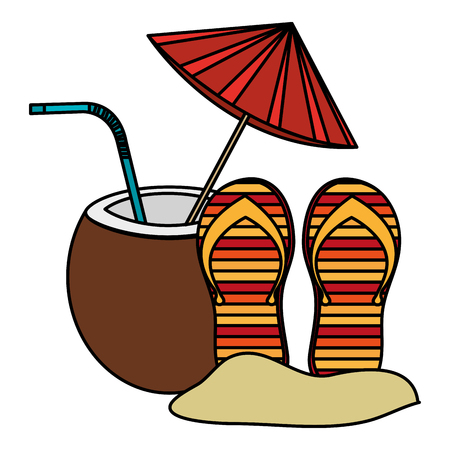 tropical coconut cocktail with flip flops vector illustration design