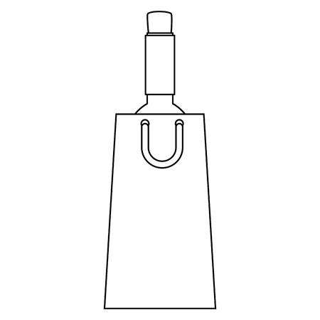 wine bottle silhouette in shopping bag vector illustration design