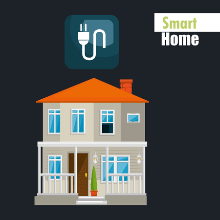 smart house with energy power service vector illustration design