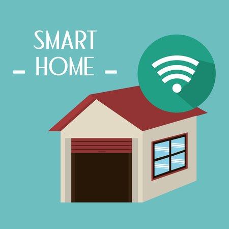 smart house with wifi signal service vector illustration design