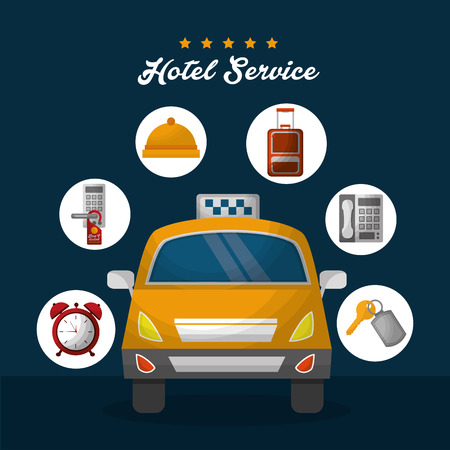 hotel service taxi lodging ring key suit time clocks vector illustration