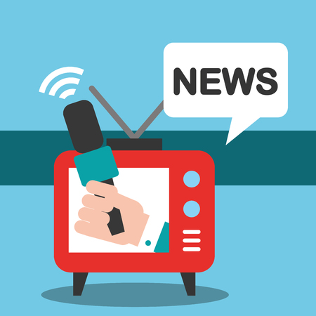 news communication relate television watching information interview vector illustration