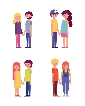 cute couples looking each other smiling lovers vector illustration