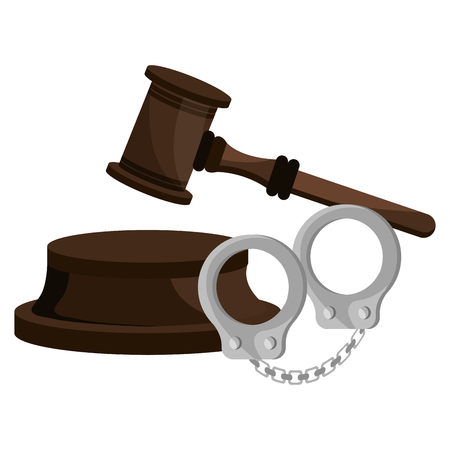 justice hammer with handcuffs vector illustration design Illustration
