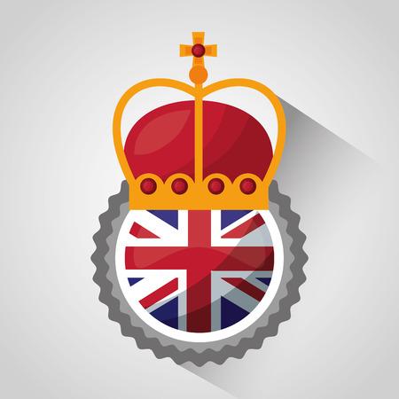 united kingdom shadow crown queen sticker london flag vector illustration