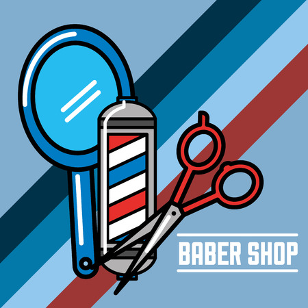 baber shop mirror pole red scissors vector illustration