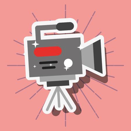 news communication relate camera film pink background vector illustration Illustration