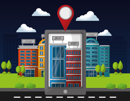 smartphone application hotel service online location vector illustration