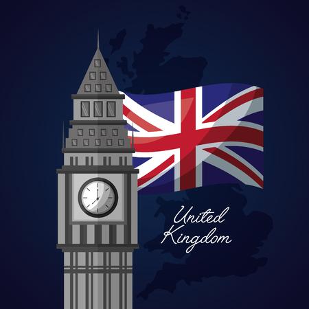 united kingdom places flag sketch backgorund big ben vector illustration