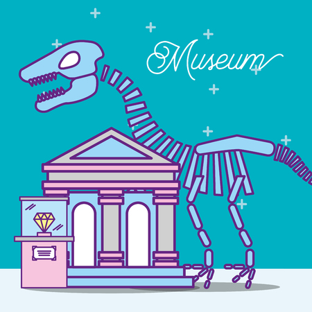 museum monuments design stars prehistoric dinosaur diamond showcase vector illustration Ilustração