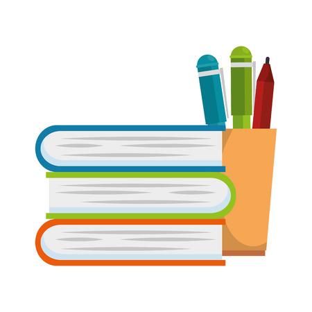 pencil holders with books vector illustration design Çizim