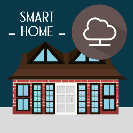 smart house with cloud computing service vector illustration design