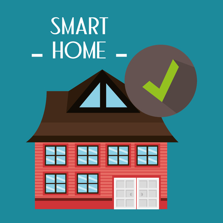 smart house with check symbol service vector illustration design