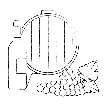 wine barrel with grapes cluster and bottle vector illustration design